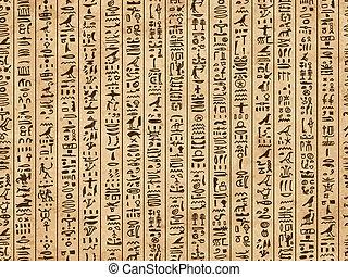 grunge, egipto, patrón, seamless, diseño, jeroglíficos, su