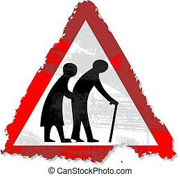 grunge elderly people sign