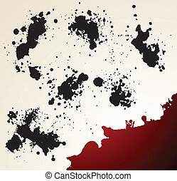 Grunge element - Bright background with black and red grunge...