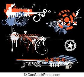 grunge, elemente, design