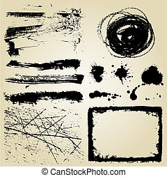 grunge, elementos, desenho