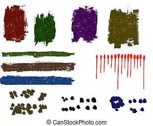 Grunge elements - Grunge paint dawbs, blood splats and paint spots - Highly Detailed vector grunge elements