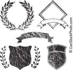 grunge, elementy, chorągiew, logo