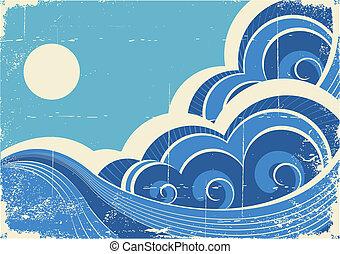 grunge, elvont, ábra, vektor, waves., tenger, táj