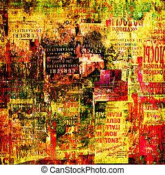 grunge, elvont, háttér, noha, öreg, szakadt, plakátok