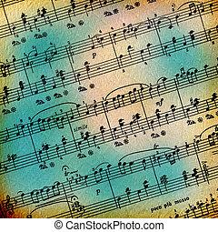 grunge, elvont, zenés, háttér, helyett, hirdetés, vagy,...