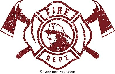 grunge emblem of fire department with fireman