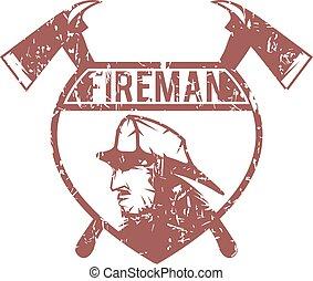 grunge emblem of fire department with fireman