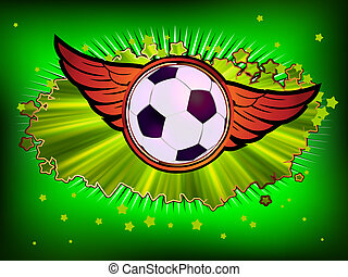 Grunge emblem, winged soccer ball and stars. EPS 8