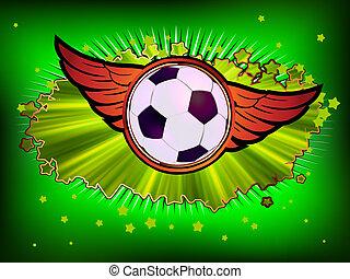 Grunge emblem, winged soccer ball and stars. EPS 8