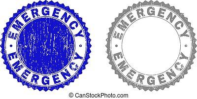 Grunge EMERGENCY Scratched Stamp Seals