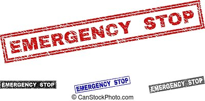 Grunge EMERGENCY STOP Scratched Rectangle Watermarks