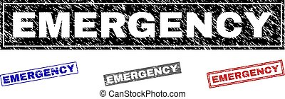 Grunge EMERGENCY Textured Rectangle Stamps