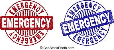 Grunge EMERGENCY Textured Round Stamps