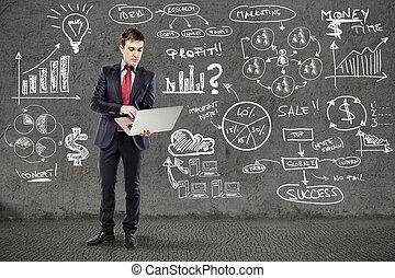 grunge, empresa / negocio, pared, plan, traje, hombre de negocios