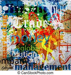 grunge, empresa / negocio, plano de fondo, collage, palabra