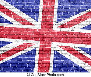 Grunge england flag on wall