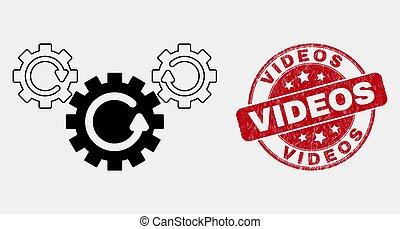 grunge, engrenage, vidéos, coup, vecteur, cachet, rotation, icône