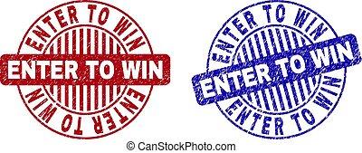Grunge ENTER TO WIN Textured Round Stamp Seals