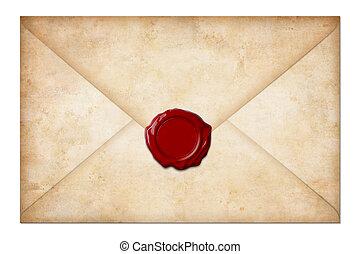 grunge, envíe, o, carta, con, sello de lacrar, aislado, blanco