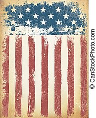 grunge, envelhecido, bandeira americana, experiência., vetorial, template.