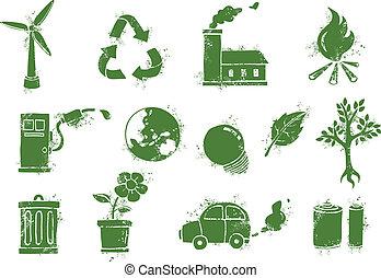 grunge environmental icons