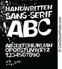 grunge, eps, sans-serif, vector, alphabet., 8, manuscrito