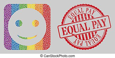 Grunge Equal Pay Stamp and Mosaic Glad Smiley Subtracted for LGBT