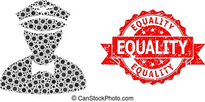 Grunge Equality Stamp and Covid-2019 Mosaic Flying Attendant...