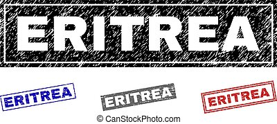 Grunge ERITREA Scratched Rectangle Stamps
