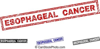 Grunge ESOPHAGEAL CANCER rectangle stamp seals isolated on a white background. Rectangular seals with grunge texture in red, blue, black and grey colors.