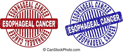 Grunge ESOPHAGEAL CANCER round stamp seals isolated on a white background. Round seals with distress texture in red and blue colors.