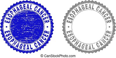 Grunge ESOPHAGEAL CANCER stamps isolated on a white background. Rosette seals with grunge texture in blue and grey colors. Vector rubber stamp imitation of ESOPHAGEAL CANCER text inside round rosette.