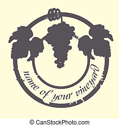 grunge, espace, timbre, texte, universel, vigne, feuilles, raisins, ton
