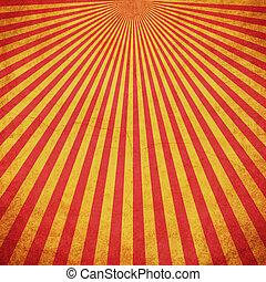 grunge, espace, vendange, fond jaune, sunburst, rouges