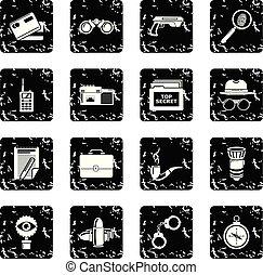 grunge, espion, vecteur, ensemble, icônes