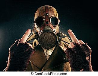 grunge, essence, fuck, signe, masque, portrait, homme