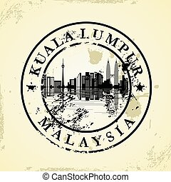 grunge, estampilla, caucho, malasia, lumpur, kuala