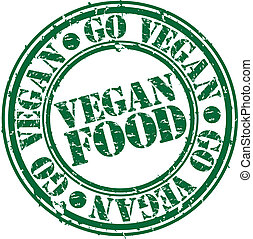 grunge, estampilla del alimento, vegetariano, caucho, vec