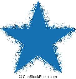 grunge, estrela, logo., vetorial, projeto gráfico