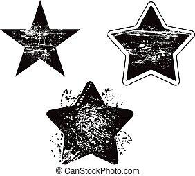 grunge, estrella, elemento, dañado, vector, diseño, conjunto