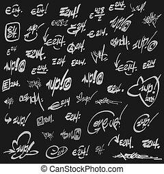 grunge, etichette, graffito, nero, pagina bianca
