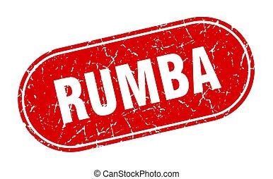 grunge, etiket, rumba, teken., rood, stamp.
