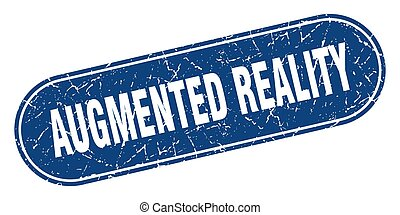 grunge, etikett, blaues, wirklichkeit, augmented, zeichen., ...