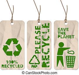 grunge, etiquetas, para, reciclagem