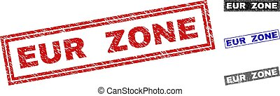Grunge EUR ZONE Textured Rectangle Stamps