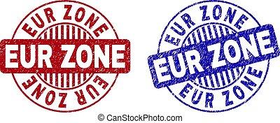 Grunge EUR ZONE Textured Round Stamp Seals