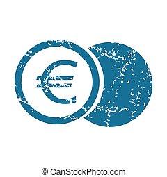Grunge euro coin icon