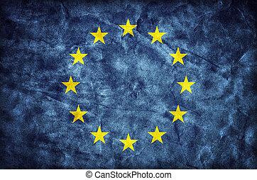 Grunge European Union flag, parchment paper texture. EU
