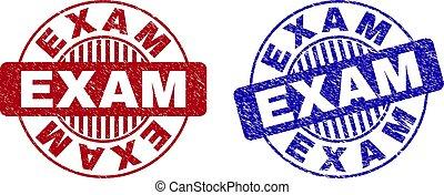 Grunge EXAM Textured Round Stamp Seals